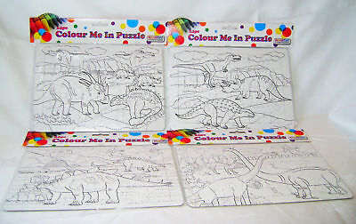 New Set Of 4 Colour Your Own Dinosaur 24 Piece Jigsaw Puzzles In Frame Ack
