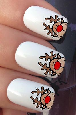 Christmas Nail #797 Rudolph Reindeer Funny Face Water Transfers Decals Stickers
