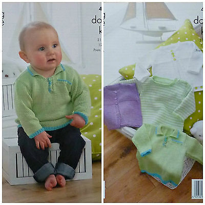 KNITTING PATTERN Baby Cardigan, Jumpers and Waistcoat Giza DK King Cole 4190