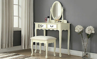 Ivory Mirrored Dressing Table Set Stool Make Up Vanity Adjustable Mirror Quality