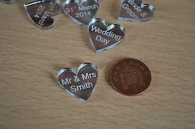 100 personalised Love Hearts Mr & Mrs table confetti wedding favours decorations