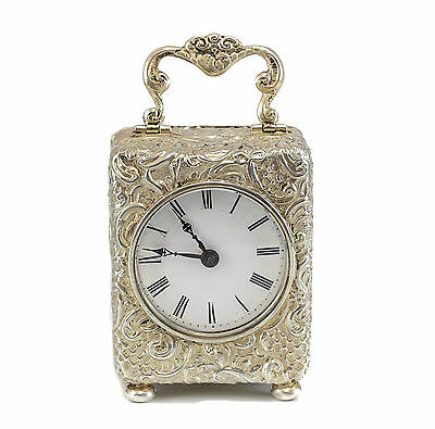 Henry Williamson Ltd Birmingham Sterling Silver Carriage Clock, 1911 Foliate