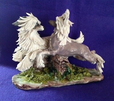 EVE PEARCE English Porcelain Hand-Made Chinese Crested Dogs Running