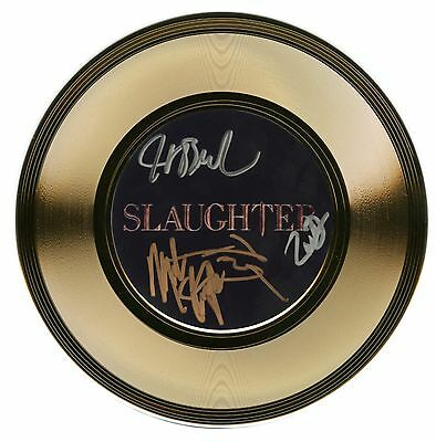 """Slaughter - 1980s American Heavy Metal Band - Autographed 7"""" Gold Record"""