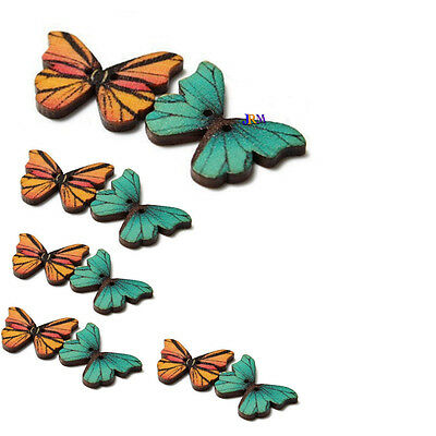 10x Mixed Butterfly Phantom Wooden Sewing Buttons Scrapbooking 2 Holes