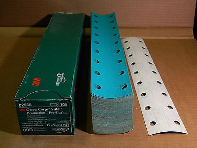"""3M 02260 GREEN CORPS STIKIT PRODUCTION 2.75""""x16"""" 80D GRIT DUST FREE SHEETS 246U"""