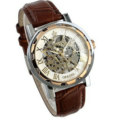 Luxury Mans Leather Band Stainless Skeleton Mechanical Wrist Watch NEW HOT Gifts