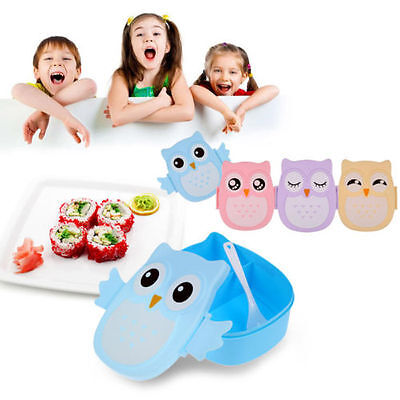 Cute Utility Owl Lunch Box Bento food-safe Plastic Picnic Container Portable Box