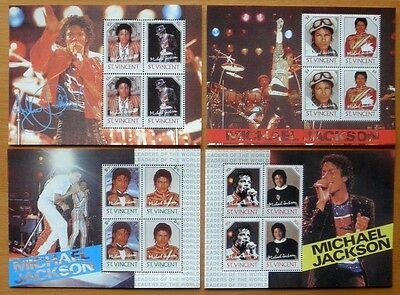 St Vincent - Michael Jackson Stamps - 4 Different Mini Stamp Sheets - All Mint