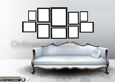 Black 10 Piece Multi Picture Frame Photo Frame Collage Wall Hanging Table Set