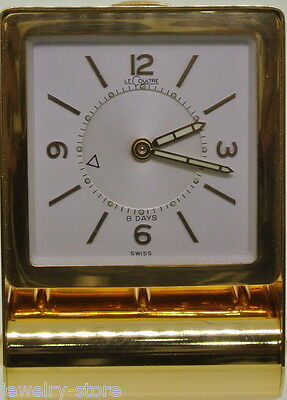 Jaeger LeCoultre 8-Day Folding Black Brass Travel Alarm Clock Swiss Made
