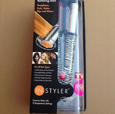 """Instyler Rotating Hot Iron 1 1/4"""" Barrel Ceramic Silver With DVD Brand New $99"""