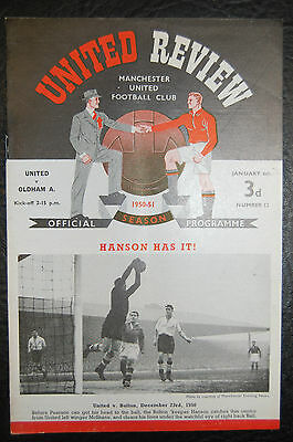 Manchester United V  Oldham Athletic  Fa Cup 1950/51 Official Programme