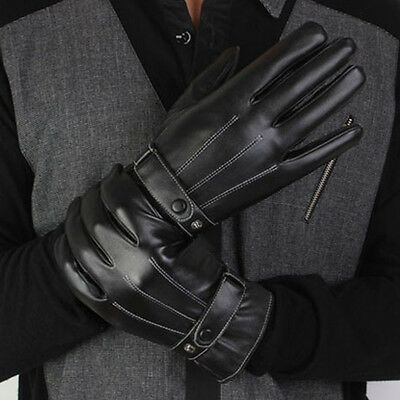 Winter Warm Mittens Lined Fleece Black Faux Leather Gloves Hot Sale Men's Chic