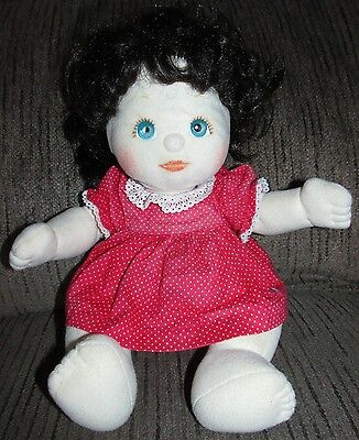 Vintage 80's My Child Baby Doll Brown Hair Blue Eyes 1985 Mattel Red Dress Dolly
