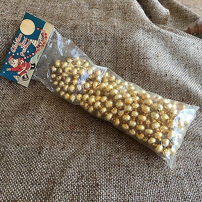 "Vintage 1940's Gold Mercury Glass 1/4"" Round Bead Feather Tree Garland  8 Ft NOS"