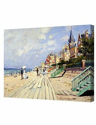 """The Beach at Trouville by  Monet. Giclee Print Stretched Canvas 20x16"""""""