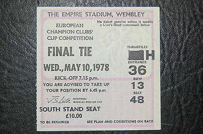 Ticket Liverpool V Club Brugge  1978 European Cup Final