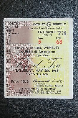 Ticket 1962 Fa Cup Final  Burnley V Tottenham Hotspur