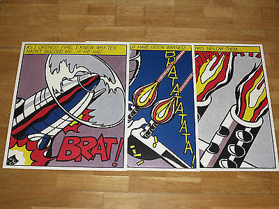 "3 x ROY LICHTENSTEIN "" AS I OPENED FIRE "" STEDELIJK POSTER SET TRIPTYCHON POPART"