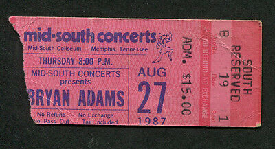 Original 1987 Bryan Adams concert ticket stub Memphis TN Into The Fire
