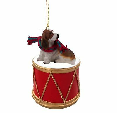 BASSET HOUND w/ DRUM DOG CHRISTMAS ORNAMENT HOLIDAY Figurine Scarf gift