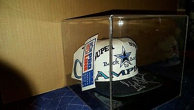 Troy Aikman Autographed Signed Dallas Cowboys Back 2 Back Champion Hat Cased COA