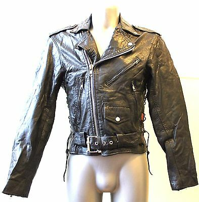 Womens Jacket Leather Vintage adjustable Cafe Racer Motorcycle Old Skool Punk 36