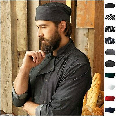 Chefs Skull Cap Elasticated Chef Hat Professional Catering Denim Stripe Check