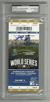 Madison Bumgarner Ip Auto Signed 2014 Game 1 Ws Ticket 5 Stats Psa/dna Slabbed 2