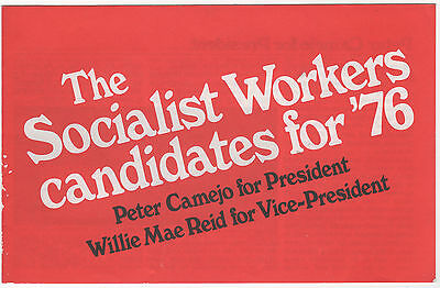 Socialist Workers Candidates for '76 Campaign Booklet CAMEJO Reid HALSTEAD
