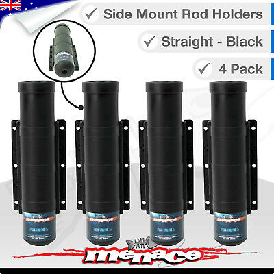 4 SIDE MOUNT Fishing Boat Rod Holders - Straight Black / Gimble Pin