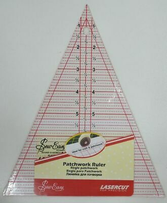 """Sew Easy Quilting Patchwork Ruler 8.5"""" X 7"""" Triangle, Lasercut For Precision"""