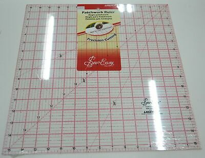 "SEW EASY Quilting and Patchwork Ruler, 15.5"" SQUARE, Lasercut for Precision"