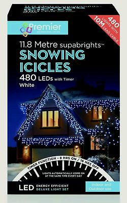 Premier 480 MULTI COLOURED LED Snowing Icicles Christmas Xmas Outdoor Lights