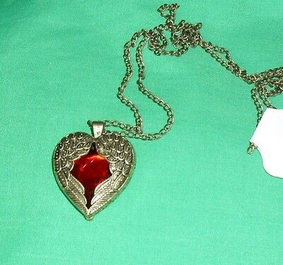 Necklace - Pendant Angel Wings Heart with Red Stone - Bronze with FREE BOX