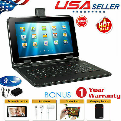 "9"" Android 5.1 KitKat Quad Core Tablet A7 8GB Dual Camera WiFi Bundle w/Keyboard"