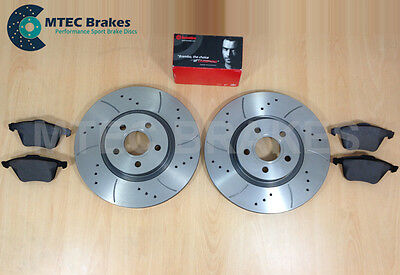 Ford Focus ST225 2.5 MTEC Drilled Grooved Front Brake Discs & Brembo Pads