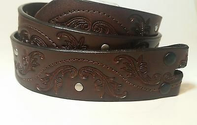 Women's Studded Western Style Brown Leather Crafted Scroll Belt no buckle