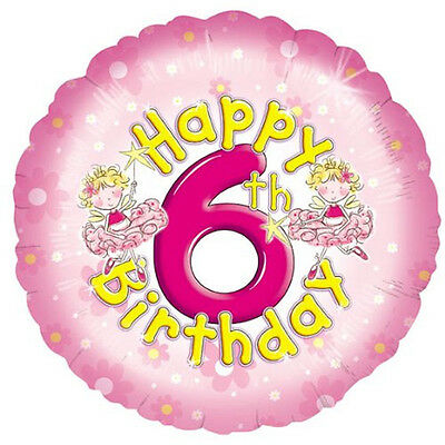 Happy 6th Birthday Balloon Pink Foil Round FB041 Free PP UK