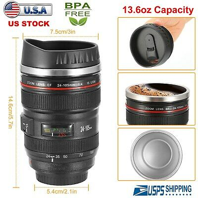 2pak Camera Lens Cup 24-105 Coffee Travel Mug Thermos Stainless Steel Leak-Proof