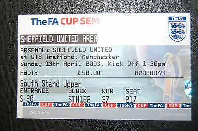 Ticket 2003 Fa Cup S/final Arsenal V Sheffield United Mint