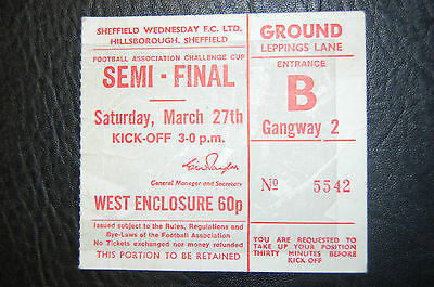 Ticket 1971 Fa Cup S/final Arsenal V Stoke City