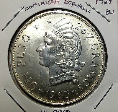 1963 Dominican Republic Silver One Peso Scarce Coin Low Mintage