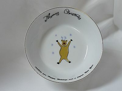 Merry Brite China Christmas Holiday Soup Cereal Bowl Reindeer 6-1/2""