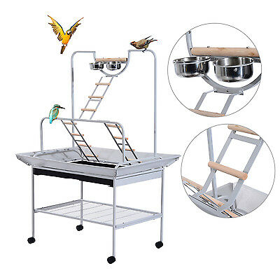 PawHut Mobile Bird Stand Wooden Birds Canary Parrot Finch Station Standing Wheel