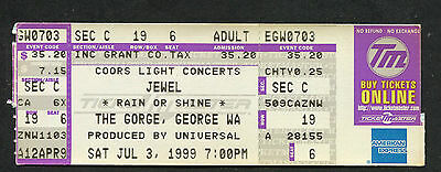 Original 1999 Jewel Unused Full Concert Ticket The Gorge Spirit