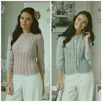 KNITTING PATTERN Ladies Round Neck Lace & Cable Jumper and Cardigan DK KC 4398