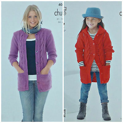 KNITTING PATTERN Ladies/Childrens Long Sleeve Cable Jacket Pocket King Cole 4089