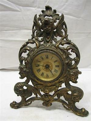 Antique Cast Iron Victorian Shelf Mantle Clock Ornate Cherub Beveled Glass